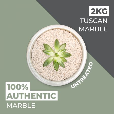Natural World Rock Plant Topper Stones - Tuscan Marble 2kg (Free Next Day Delivery)