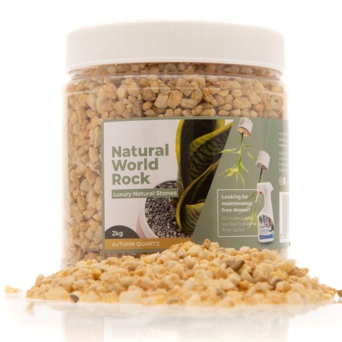 Natural World Rock Plant Topper Stones - Autumn Quartz 2kg (Free Next Day Delivery)