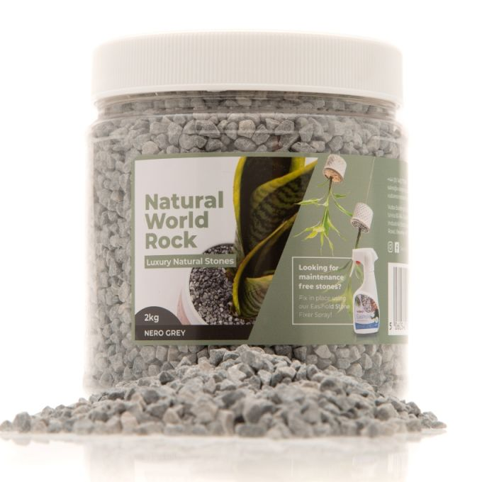 Natural World Rock Plant Topper Stones 2kg - Nero Grey (Free Next Day Delivery)
