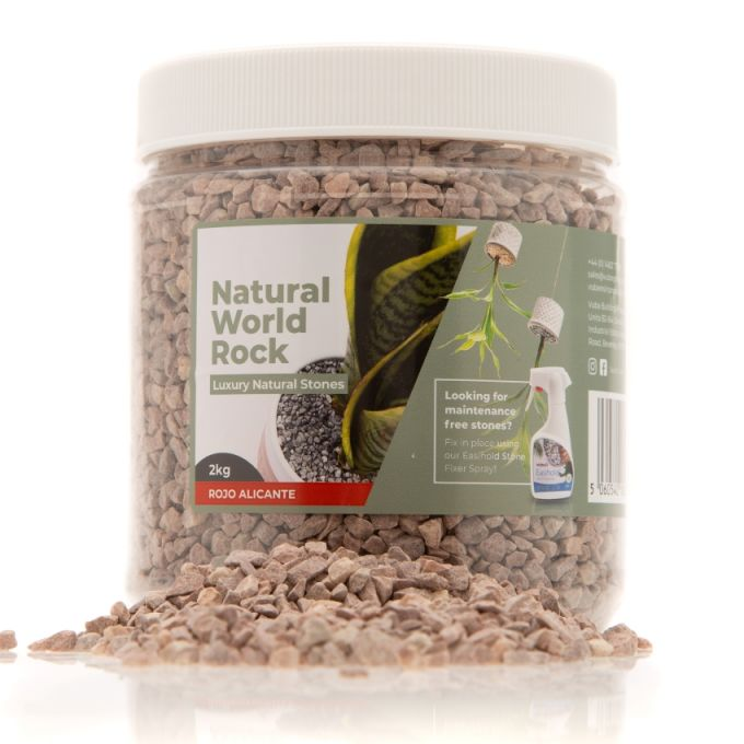 Natural World Rock Plant Topper Stones - Rojo Alicante 2kg (Free Next Day Delivery)